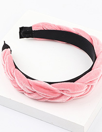 Fashion Pink Gold Velvet Cross Wide-brimmed Twisted Headband