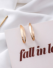 Fashion Gold 925 Silver Pin Double Metal Curved Earrings