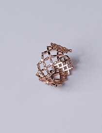 Fashion Gold Grid Opening Diamond Ring