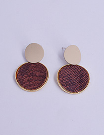 Fashion Dark Red Contrast Alloy Disc Earrings