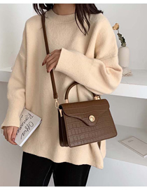 Fashion Brown Stone Pattern Lock Shoulder Bag Shoulder Bag  Pu