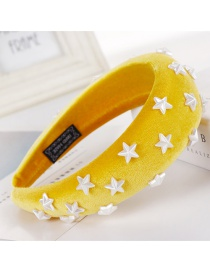 Fashion Yellow Sponge Five-pointed Star Wide-brimmed Headband