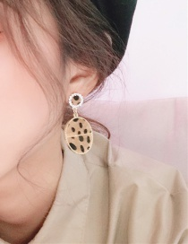 Fashion Yellow Leopard-print Round Earrings