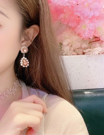 Fashion Yellow Alloy Flower And Diamond Stud Earrings