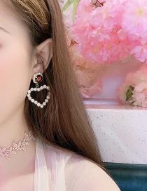 Fashion Yellow Alloy Large Gemstone Love Diamond Stud Earrings