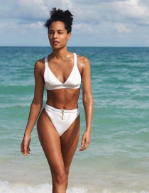 Fashion White Hollow Zipper Split Swimsuit