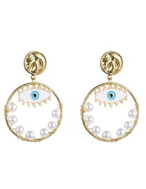 Fashion Gold Eye Circle Pearl Earrings