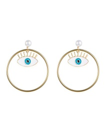 Fashion Gold Eye Pearl Circle Earrings