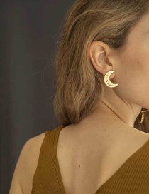 Fashion Gold Moon Irregular Geometric Earrings