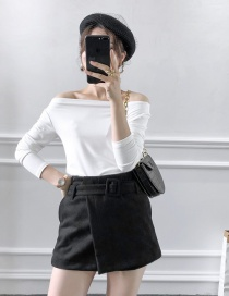 Fashion Black Suede With Belt Shorts Skirt