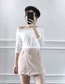 Fashion Pink Suede With Belt Shorts Skirt