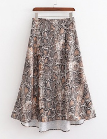 Fashion Khaki Snake Print Slit Skirt