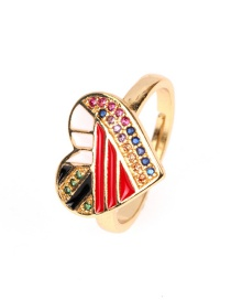 Fashion Red Copper Plated Micro-inlaid Colored Diamond Drop Oil Heart Open Ring