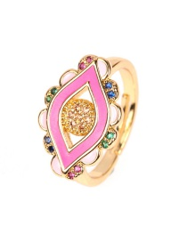 Fashion Pink Eye Opening Micro-set Diamond Drop Ring