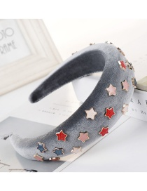 Fashion Gray Sponge Five-pointed Star Beaded Headband