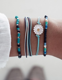 Fashion Color Braided Rope Rice Beads Flower Daisy Rope Bracelet 4 Piece Set