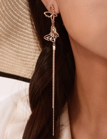 Fashion Gold Hollow Butterfly Tassel Stud Earrings