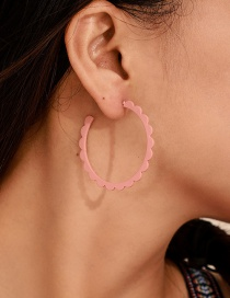 Fashion Pink Drip Oil C-type Lace Earrings