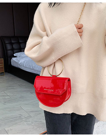 Fashion Red Number Chain Semi-circular Shoulder Bag