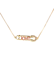 Fashion Gold Pin Copper Plated Micro-inlaid Zircon Love Love Necklace
