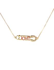 Pin Zircon Micro-incrustaciones De Cobre Con Collar Love Love