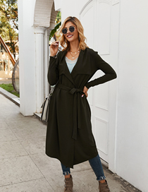 Fashion Gray Green Strap Over The Knee Coat