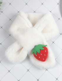 Fashion Strawberry White Children's Cartoon Animal Plush Cross Scarf