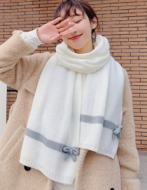 Fashion White Wool Thickening Bow Shawl Scarf