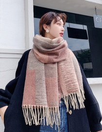 Fashion Light Orange Coffee Plaid Color Matching Cashmere Scarf Shawl