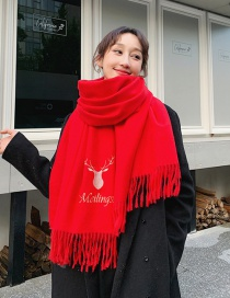 Fashion Red Dual-use Embroidery Fawn Shawl Scarf