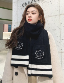 Fashion Black Dual-use Knitted Woolen Pocket Shawl