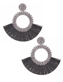 Fashion Gray + White Felt Cloth With Diamond Round Tassel Earrings