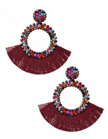 Fashion Red Wine Felt Cloth With Diamond Round Tassel Earrings