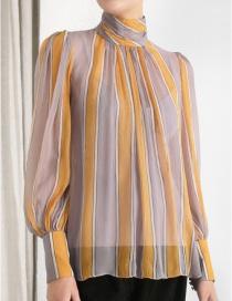 Fashion Color Striped Turtleneck Top