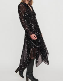 Fashion Black Star Print Irregular Dress