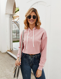 Fashion Pink Embroidered Short Hooded Sweater
