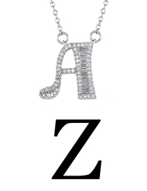 Fashion Z Silver English Alphabet Adjustable Necklace