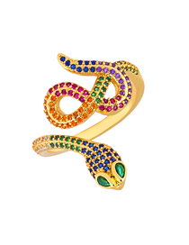 Fashion Gold Serpentine Copper Plated Micro-inlaid Zircon Ring
