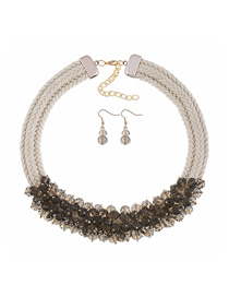 Fashion Gray Crystal Flower Braided Necklace Earring Set