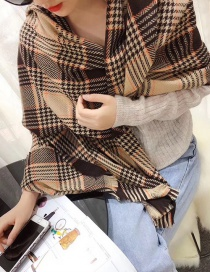Fashion Coffee Color Houndstooth Cashmere Scarf Shawl
