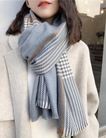 Fashion Jean Blue Contrast Houndstooth Faux Cashmere Scarf Shawl