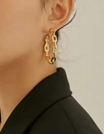 Fashion Gold (silver Needle) Oval Chain Large Hoop Earrings