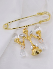 Fashion Gold Crystal Chandelier With Diamond Brooch