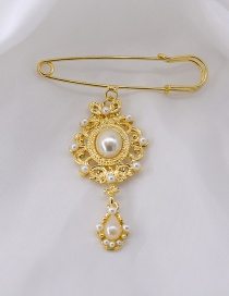 Fashion Gold Pearl Rhinestone Brooch