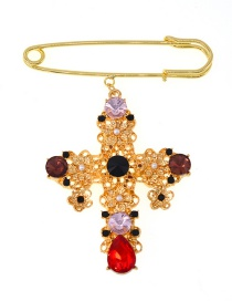 Fashion Gold Cross Hollow Crystal Brooch