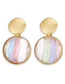 Fashion Color Alloy Inlaid Jade Earrings