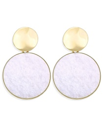 Fashion White Round Inlaid Plush Sequin Earrings