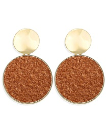 Fashion Brown Round Inlaid Plush Sequin Earrings