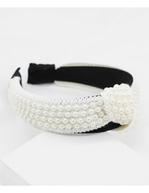 Fashion White Cloth Pearl Headband Dance