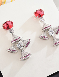 Fashion Silver S925 Sterling Silver Needle Micro-inlaid Zircon Skirt Earrings